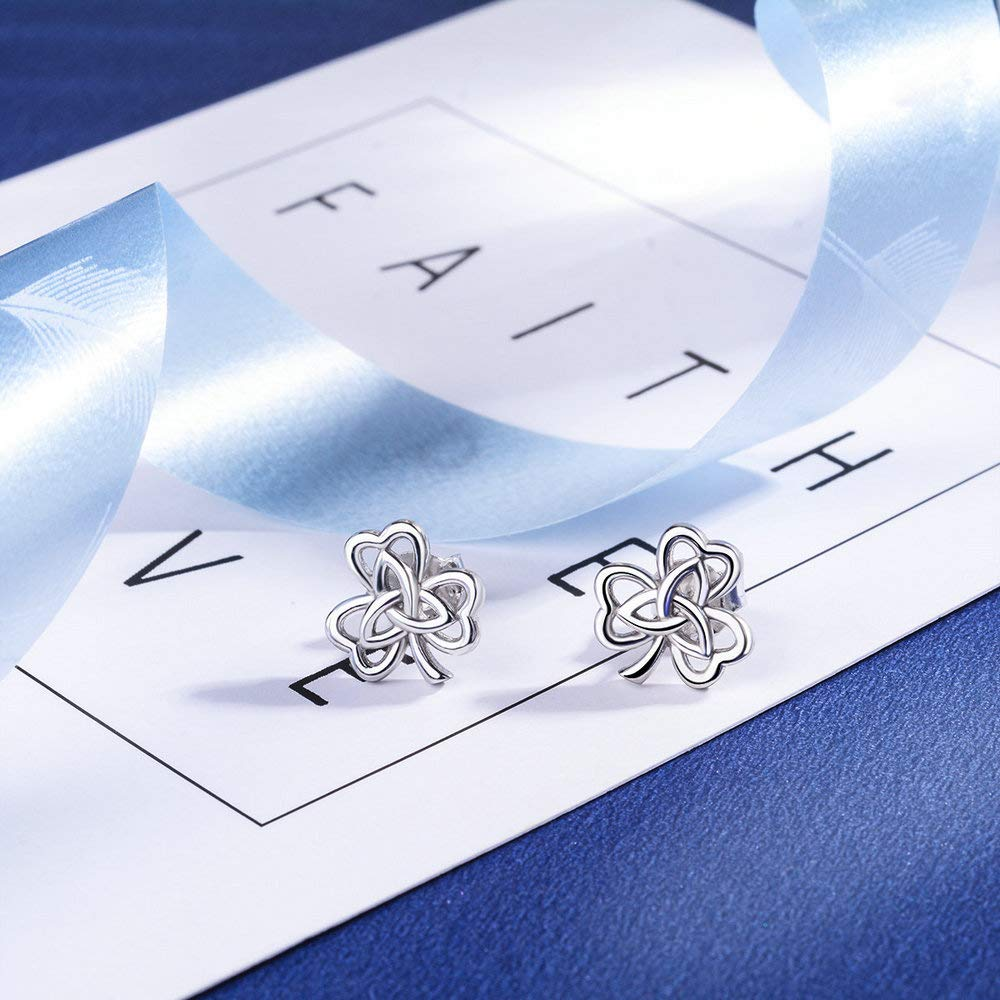 925 Sterling Silver Celtic Knot Good Luck Clover Stud Earrings Endless LoveJewelry Gifts Metwoo Silver Earrings for Women