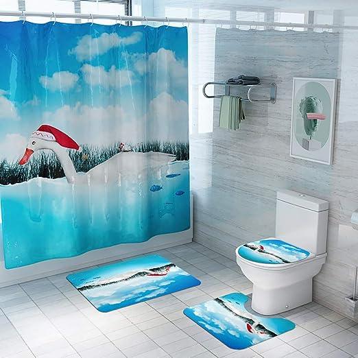 4PC//Set Christmas Shower Curtain+Bathroom Non-Slip Rug+Lid Toilet Cover+Bath Mat