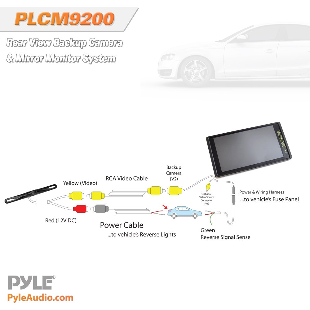 pyle plcm wiring diagram pyle image wiring diagram amazon com pyle plcm9200 car van keep bus backup camera monitor on pyle plcm7200 wiring diagram