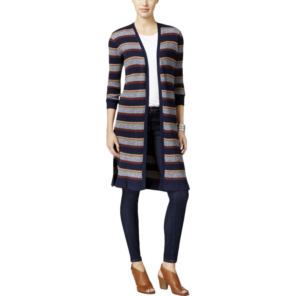 Style & Co.. Petite Ribbed Duster Cardigan in Indigo Blue Combo (Petite Large)