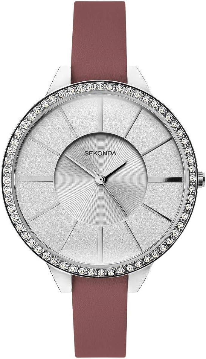Sekonda 40006 - Reloj para mujer con esfera plateada brillante y correa de color burdeos