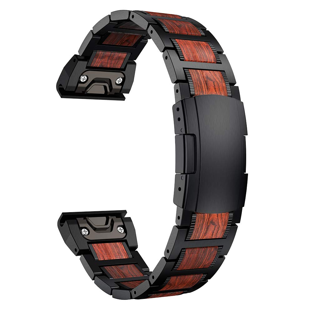 LDFAS Fenix 6X/5X Plus Band, Red Sandalwood Stainless Steel Metal 26mm Quick Release Easy Fit Watch Strap with Double Button Clasp Compatible for Garmin Fenix 6X/6X Pro/5X/5X Plus Smartwatch, Black by LDFAS