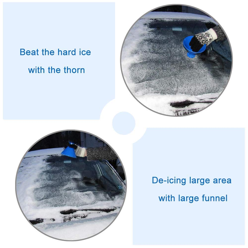 Black EUYOUZI A Round Magic Ice Scraper for Car,2 in 1 Cone-Shaped Car Windshield Snow Removal Window Cleaning Tool Windscreen Frost Remover