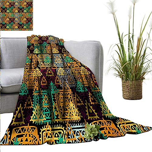 Throw Blanket,Modern Art,Folk Aztec Motif with Ornate Triangles and Rounds and Inner Spots Dots Figures,Multicolor,Sofa Super Soft, Plush, Fuzzy Microfiber Throw Reversible,Comfy -