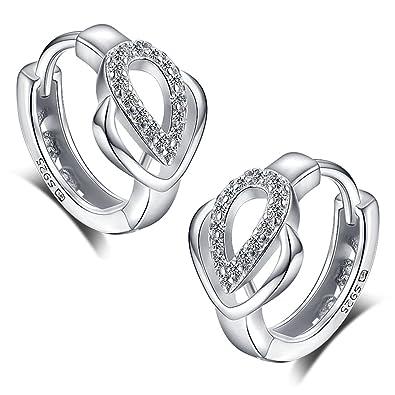 Meixao 925 Sterling Silver Cubic Zirconia Heart Hoop Earrings Studs for Girls/Women rOU1cyA0