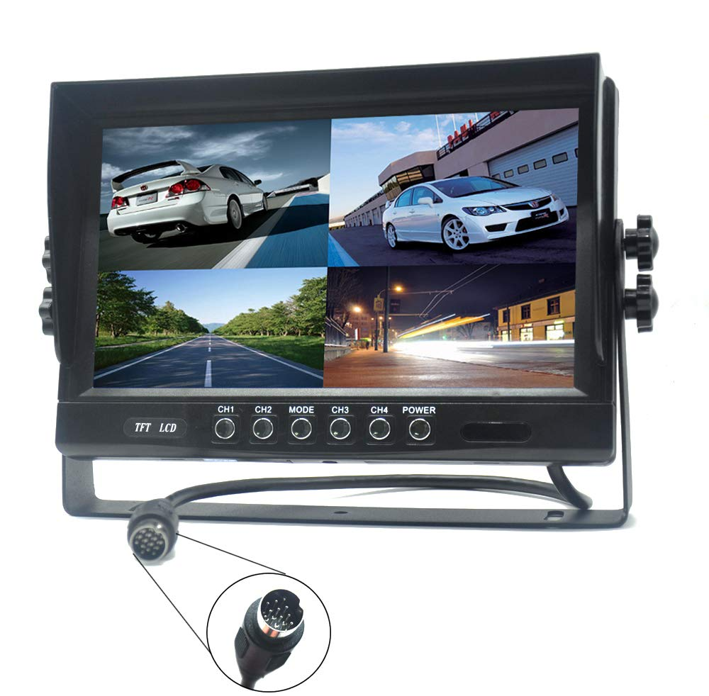Padarsey 9'' TFT LCD Car Rearview Quad Split Monitor,Remote Control, 4 Channels 4-PIN Connector Video Inputs Shockproof - 12V-24V 800480HD Screen w/Sunshade Anti-Glare by Padarsey