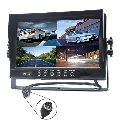 Padarsey 9quot TFT LCD Car Rearview Quad Split MonitorRemote Control 4 Channels