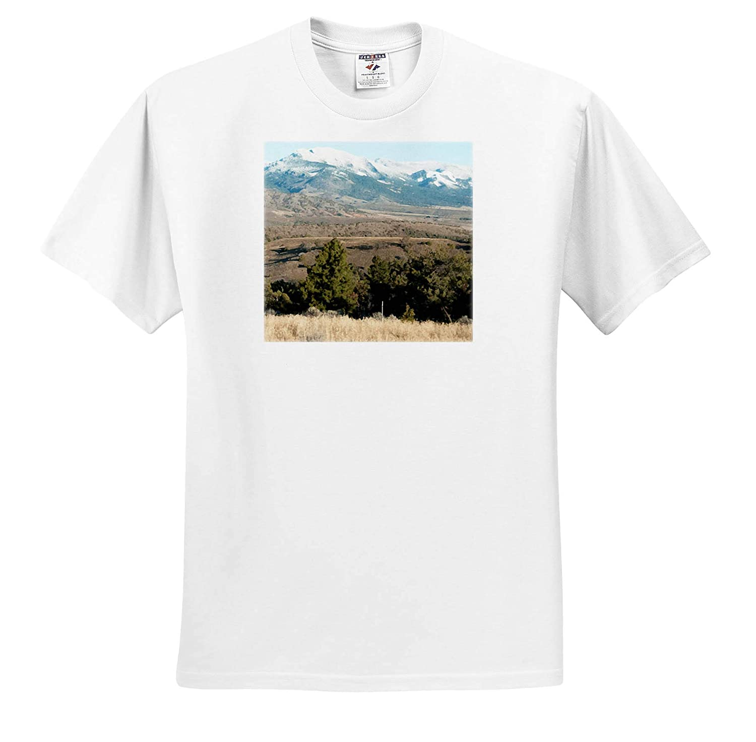 T-Shirts A Digital Watercolor of a Mountain with Green Trees Below 3dRose Jos Fauxtographee Watercolor Montana Hills