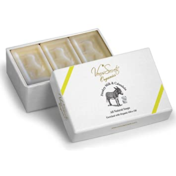 ... Pastilla de jabón natural con leche de burra y aceite de oliva ecológico, juego lujoso para regalo, paquete de 3 pastillas, 450 gr: Amazon. es: Belleza
