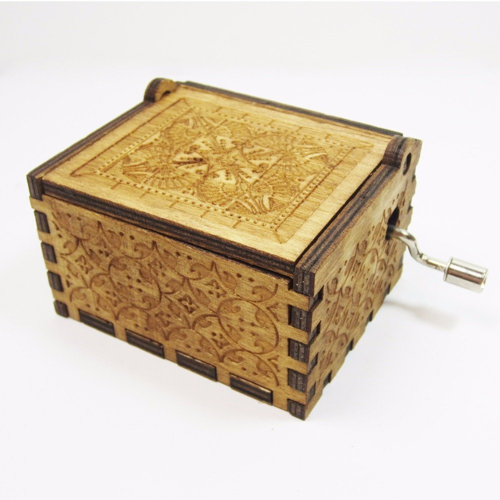 Antique Carved Wooden Music box Hand cranked Music: Game of Thrones, Harry Potter, Merry Christmas, Beauty and the Beast, and Zelda Theme Gift (Zelda; Song of Storms from Ocarina of Time, Wood) by Phoenix Appeal (Image #5)