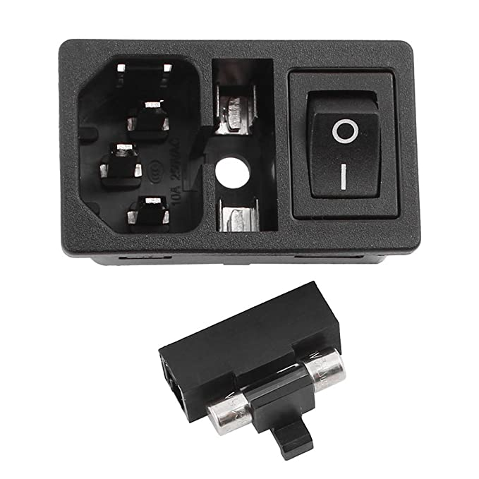 uxcell Inlet Male Power Socket with Fuse Rocker Switch 10A 250V 3Pin on