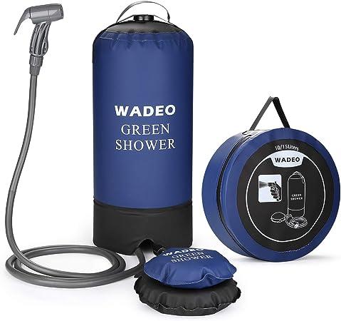 WADEO Ducha Portátil de Camping Exterior, Bolsa de Ducha Inflable con Bomba de Pie y Boquilla de Ducha de Presión para Persona/automóvil/Mascotas