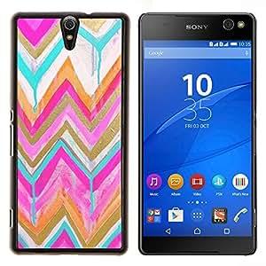 - chevron gold pink watercolor pattern/ Duro Snap en el tel??fono celular de la cubierta - Cao - For Sony Xperia C5 Ultra