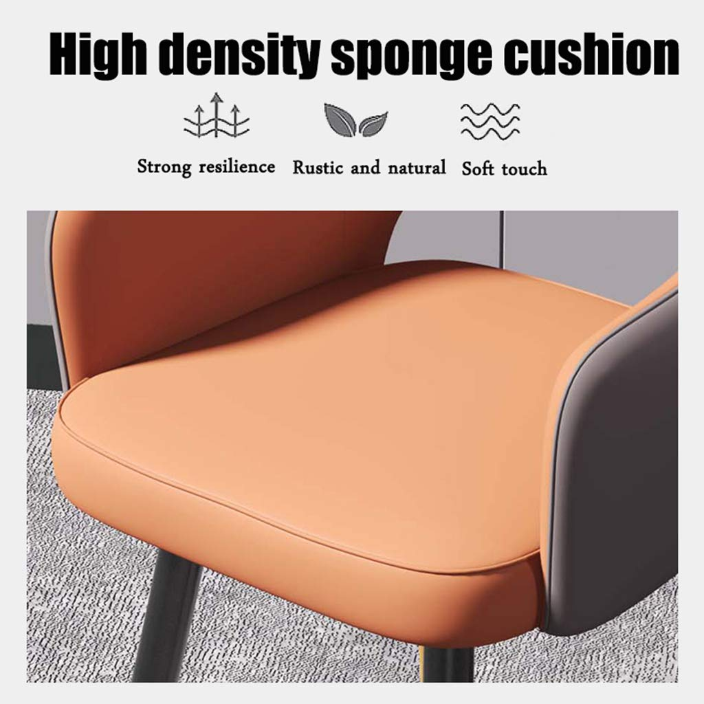 ZINIUKEJI modern stol, loungestolar för vardagsrum matsal sovrum kök, matstol i konstläder med metallben Grått