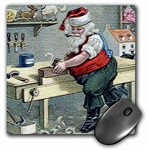 Price comparison product image 3dRose LLC 8 x 8 x 0.25 Inches Mouse Pad, Santa Using Table Saw Making Special Toy in His Workshop - (mp_172730_1)