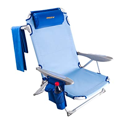 #WEJOY Aluminum Lightweight 4-Position Adjustable Low Seat Folding Beach Chair with Shoulder Strap Cup Holder Pocket Armrest and Headrest, Great for Outdoor Camping Lawn Concert : Sports & Outdoors