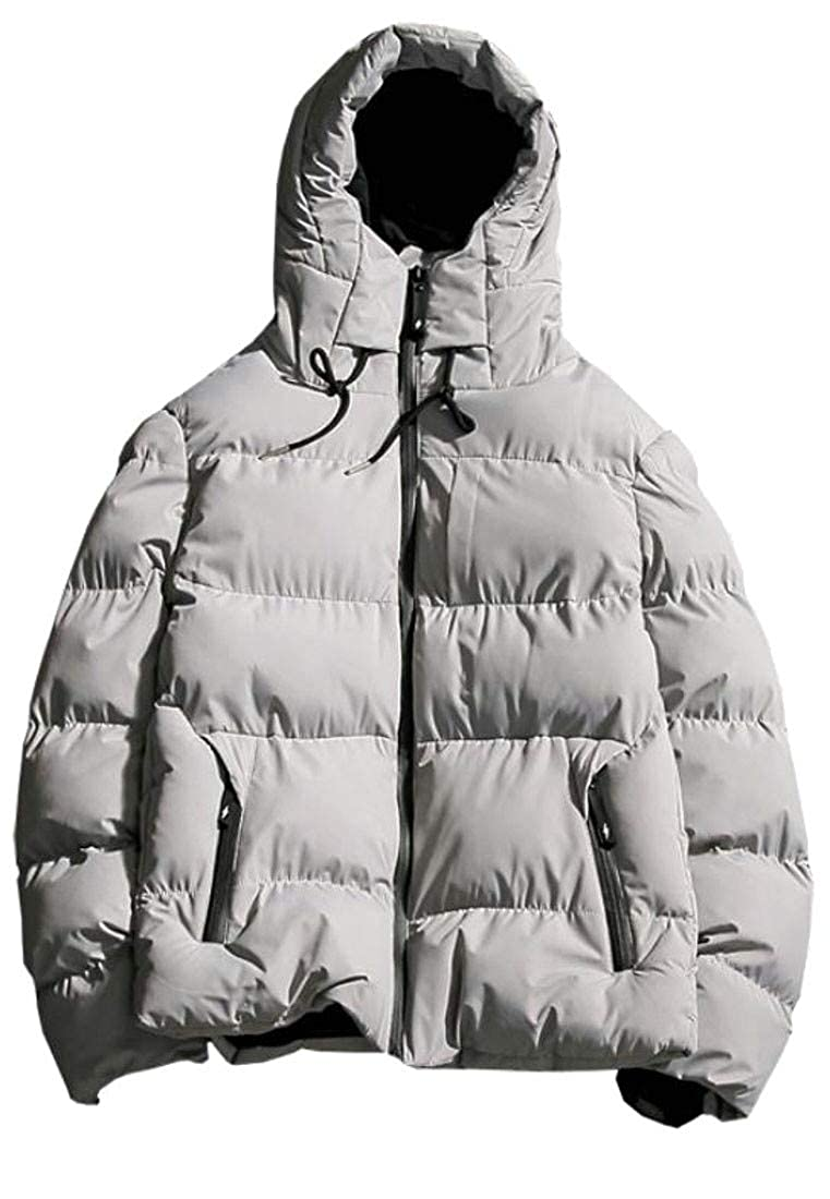 Etecredpow Mens Warm Hooded Winter Quilted Outwear Down Jacket Parka Coat
