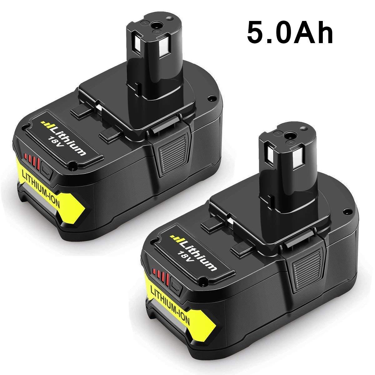 P102 5000mAh for Ryobi 18v Lithium Ion Battery P108 P103 P105 P107 P109 P104 P100 P122 Replacement for Ryobi 18 volt 5.0Ah One+ Plus Cordless Tools-2Packs