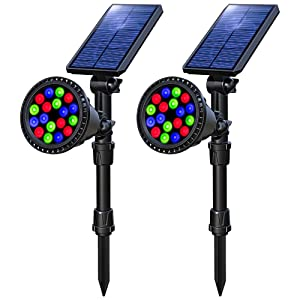 OSORD Solar Lights Outdoor, Waterproof 18LED Multicolor Solar Landscape Spotlights Garden Decorative Lighting Color Auto Changing/Lock Solar Landscape Lights for Pathway Deck Yard Patio Lawn 2 Pack