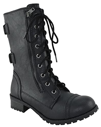 Women Combat Army Military Motorcycle Riding Flat Boots Buckled Dome-S (11 Black)