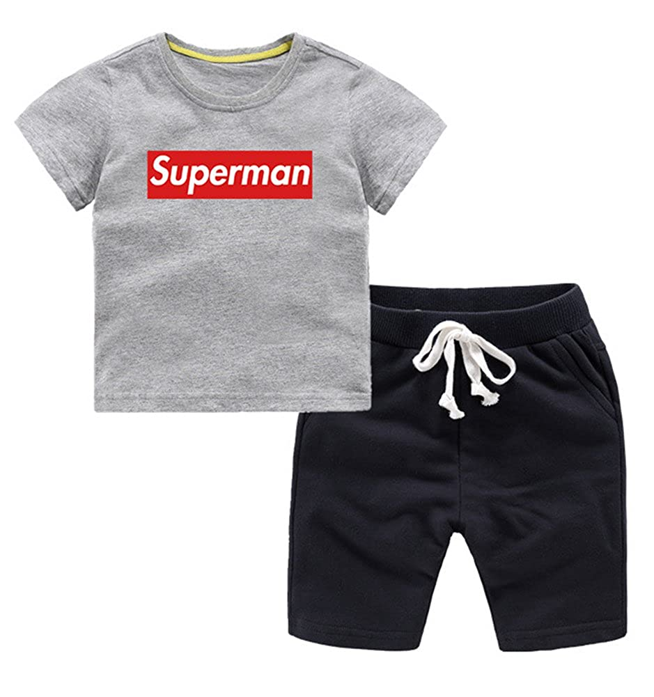 Absolufun Boys 2ps Supermen Cotton Short Sleeve Confortable Summer Outfit