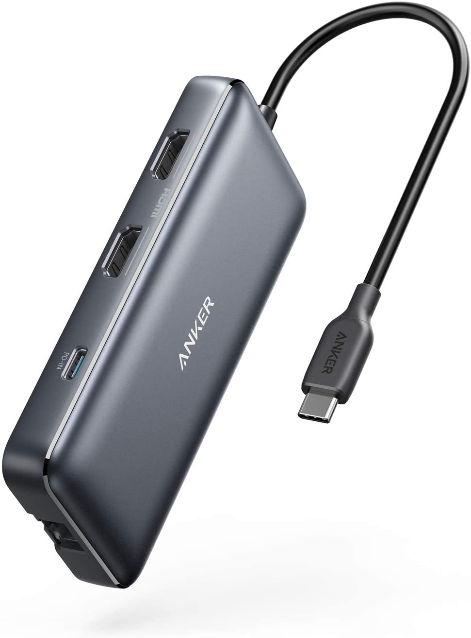 Anker USB C Hub, PowerExpand 8-in-1 USB C Adapter, with Dual 4K HDMI, 100W Power Delivery, 1 Gbps Ethernet, 2 USB 3.0 Data Ports, SD and microSD Card Reader, for MacBook Pro, XPS and More