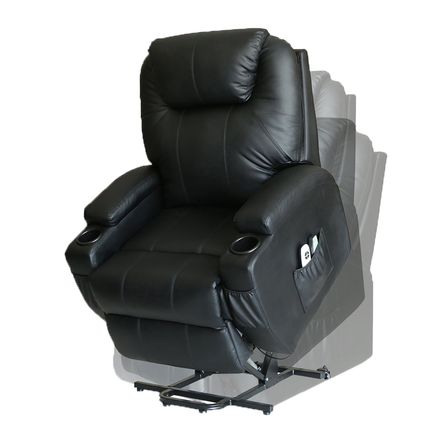 MAGIC UNION Wall Hugger Power Lift Massage Recliner Heated Vibrating Chair with 2 Controls Wheels - Black