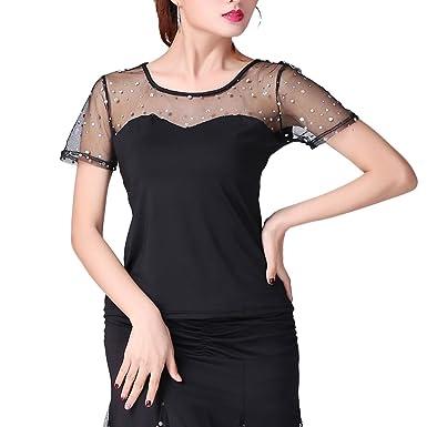 8b6b90db931880 Image Unavailable. Image not available for. Color: Women Girls Ballroom Cha  Cha Modern Latin Salsa Shiny Black Dance Blouse Top Shirt