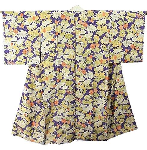 ビリーヤギ従者辞任するアンティーク 着物 襦袢 袷 正絹 花鳥文 裄59.5cm 身丈119cm