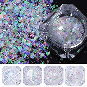 NICOLE DIARY 5 Boxes Holographic Nail Sequins Iridescent Flakes Colorful Glitter Manicure Nail Art Design Make Up DIY Decals Decoration