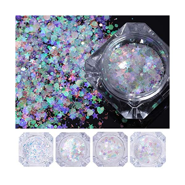 NICOLE DIARY 5 Boxes Holographic Nail Sequins Iridescent Flakes Colorful Glitter Manicure Nail Art Design Make Up DIY Decals Decoration 3