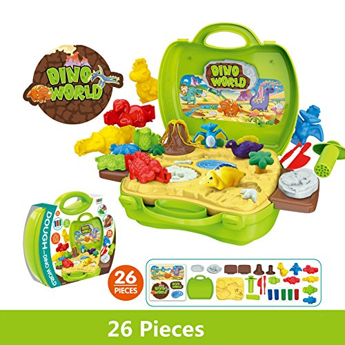 Dinosaur Clay - Dinosaur Plasticine Modeling Clay Artist Toy in Suitcase, Variety of Molds 5pcs Bright Color Clay Doughs, Preshooler Kindergarten Kids, Environment-friendly Non-toxic Clay Toys