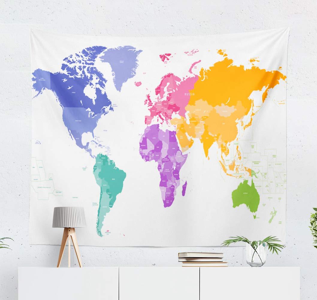 Australia Map In World.Amazon Com Kutita Tapestry Wall Hanging World Map Map World