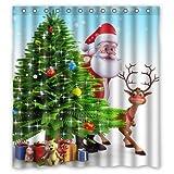 Tree Shower Curtain Christmas Tree Reindeer Custom Waterproof Shower Curtain Bathroom Curtains 66x72 inches