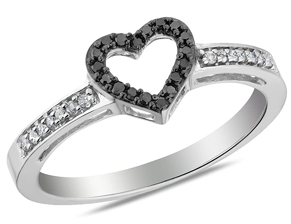 6d265804920be8 Enhanced Black and White Diamond Heart Promise Ring 1/8 Carat (ctw) in 10K  White Gold: Amazon.ca: Jewelry