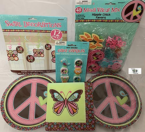 Hippie Chick Party Supply Pack with Plates, Napkins, Decorations, Party Favors and Candle Set