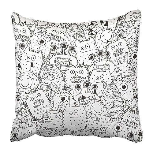 Emvency Throw Pillow Covers Print Halloween Funny Monsters for Coloring Book Black and White Page Scary Adult Alien Anti Beast Boo 18 X 18 Inch Square Zipper Polyester Home Sofa Decorative Case -