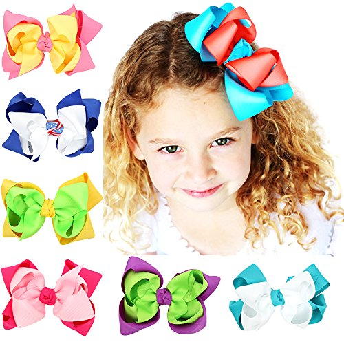 Floral Fall Girls Holiday Large Bows with Alligator Clips Boutique Hair Bow BY-06