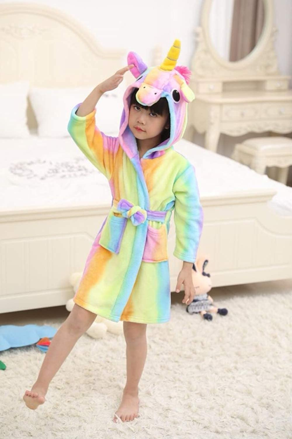 Toddlers Luckyhappykids Soft Hooded Unicorn Bathrobes Rainbow Unicorn, 120 for 4 Years at Height 39.37/'/'-41.34/'/' Girls Flannel Sleepwear Pajamas Comfortable Loungewear for Kids