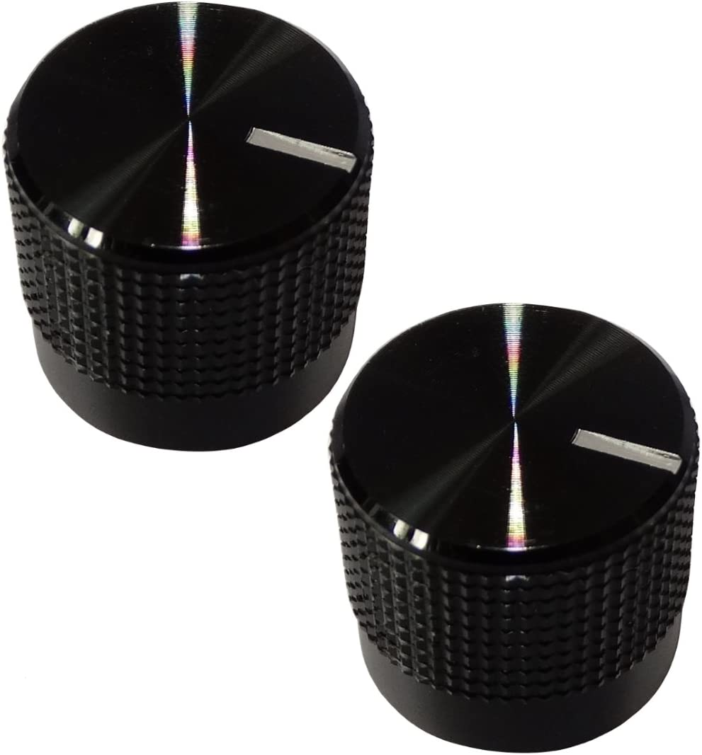AERZETIX 2X Boton de potenciometro para Eje 6mm /Ø18.5x17.1mm Negro//Blanco C12101