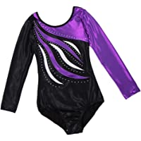 Lovoski Kid Girls Unitards Leotard Long Sleeve Gymnastics Dancewear Costume Purple - Purple, 8(7-8Y)