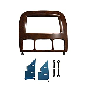 DKM Double Din Radio Stereo Installation Trim for Mercedes Benz S Class W220 Dash Trim Kit Fascia 1998-2005 Wood Grain 173*98mm Opening