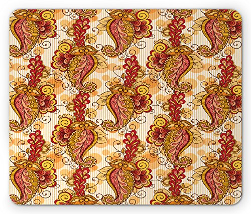 Asian Mouse Pad by Ambesonne, Traditional Asian Paisley in Colors Floral Ornamental Religious Cultural Art, Standard Size Rectangle Non-Slip Rubber Mousepad, Orange Yellow Red