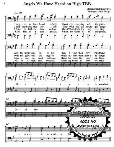 Angels We have Heard on High  A cappella for  TBB Choral Sheet Music