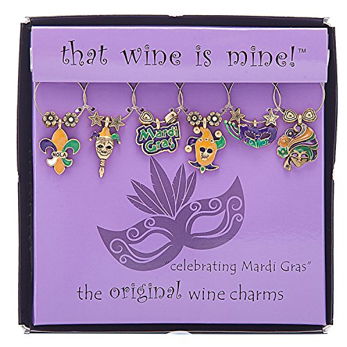 (Wine Things WT-1634P Celebrating Mardi Gras, Painted Wine Charms, Fits neatly around stem, Multi-Color)