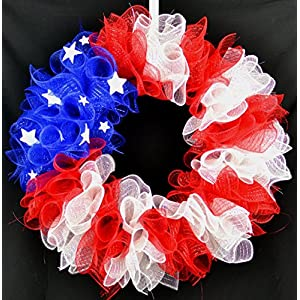 American Flag Fourth of July Mesh Door Wreath; Fourth of July Decor | Patriotic red white blue 16