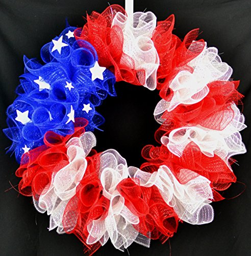 July 4th Wreaths (American Flag Fourth of July Mesh Door Wreath; Fourth of July Decor | Patriotic red white)