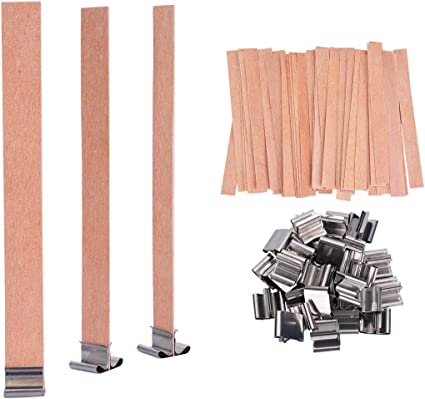 Amazon.com: YoungRich 100 PCS Wood Candle Wicks with Iron Stand Candle Cores Natural Environmental-Friendly Wick for Candle Making and Candle DIY Craft 13x1.3cm / 5.1x0.5inch