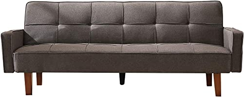 Modern Futon Sofa, Linen Couch Living Room Furniture,Upholstered, Eucalyptus Frame, Memory Foam, Easy to Clean, Assembly, Sense of Design, Suitable for Simple Apartments Gray