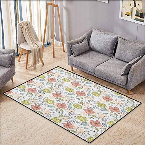 Indoor/Outdoor Rug,Sketch,Hand Drawn Colorful Floral Bloom Arrangement Doodle with Coming of The Spring Theme,Anti-Slip Doormat Footpad Machine Washable,4'7